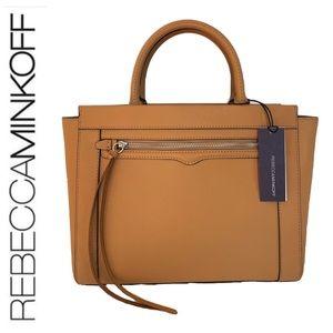 NWT Rebecca Minkoff leather Monroe satchel sand